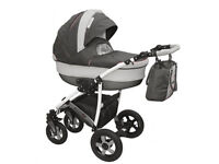 Baby Pram Stroller buggy Pushchair travel System 3in1 Colour gray