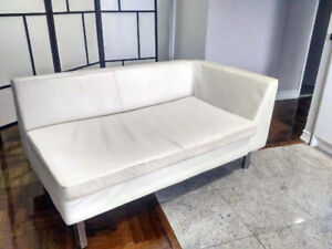 Chaise Lounge Couch White Leather + White Chair