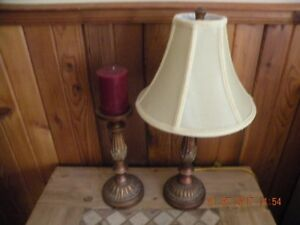 Table lamp and candle with holder