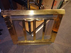 """Wood Fireplace Door and Tools Set - Gold, 34""""(w) x 28"""