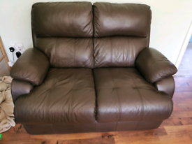 2 seater leather sofa and 2 electric reclining chairs