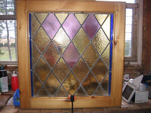 2 Antique Old Stained Glass Windows