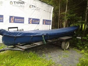 Cedar Canoe with motor and Boat trailer for Sale