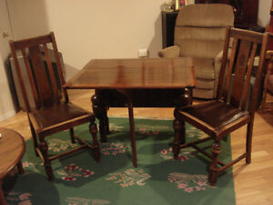 Antique drop leaf dinning table & chairs