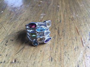 Sterling Silver Ring with Semi-Precious Stones