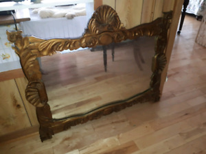 Antique Hand-Carved Wooden Mirror