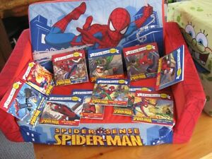 Spiderman sofa and books