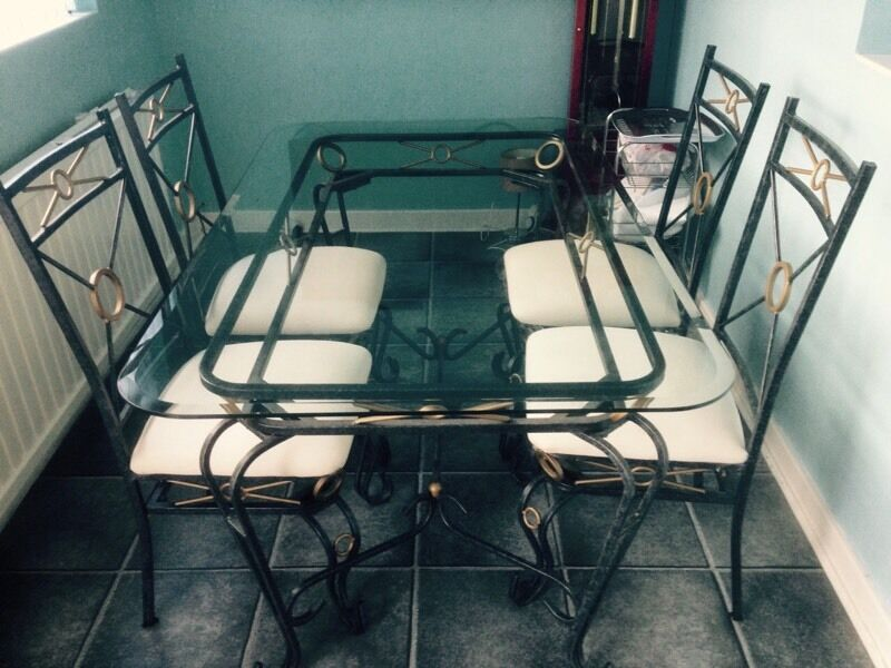 Glass amp Wrought Iron Dining Table with 4 Chairs in  : 86 from www.gumtree.com size 800 x 600 jpeg 76kB