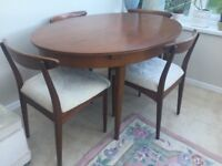 Retro 1960s teak dining table and 4 chairs