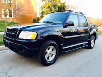 2004 FORD EXPLORER SPORT TRAC, 4 DOORS, 4X4  BLACK ON TAN LEATER