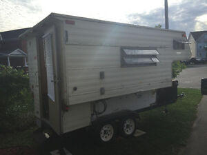 2 for 1 camper and flat bed trailer.