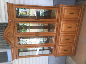 Oak China Cabinet Table Chairs