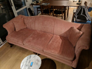 Pink Chenille Sofa and Chair