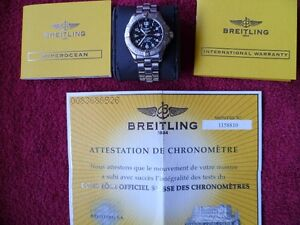 "BREITLING ""SUPEROCEAN"" MINT WITH ORIGINAL BOX AND PAPERS"