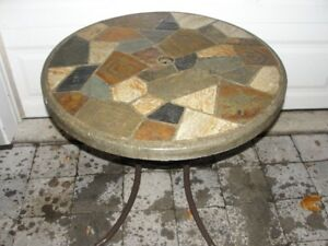 Garden Table - Slate Surface With Steel Frame, 30 (diam) x 28