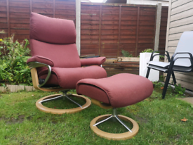 Ekornes stressless recliner chair with footstool