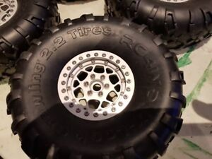 BRAND NEW ALUMINUM KNOCK OFF VP OMF WHEELS WITH RC4WD TIRES