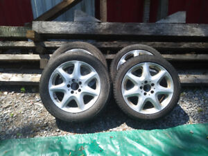Aluminum rims and tires from a Mercedes and other 5 bolt cars