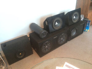 Car Audio Subwoofers in Boxes + Amplifiers Stereo Sub Amp