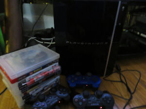 PS3 with 2 controllers and games Kitchener / Waterloo Kitchener Area image 1