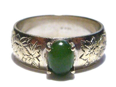 Jade Floral Band Ring - VINTAGE ESTATE JADE & FLORAL FLOWER PATTERN 14K WHITE GOLD WOMENS RING BAND SZ 9