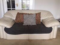 Set of two gorgeous vintage cream leather sofas