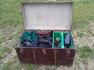 Trunk filled with horse equipment