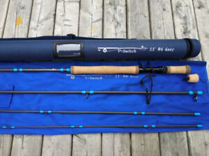 "6 weight 11"" switch rod, sealed drag reel, and 30lb backing"