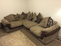 Beige and Brown Corner Sofa