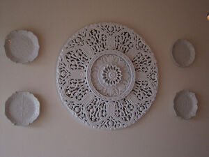 Decorative White Plates and Round Wall Hanging