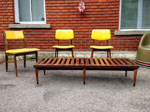 Table Basse de Salon/ Banc Mid Century Moderne TECK