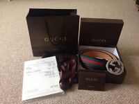Gucci Signature Web Leather Belt
