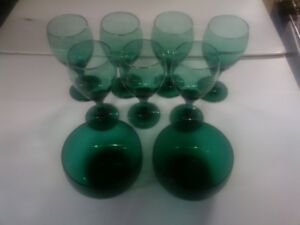 Green Glass Cups
