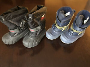TWO TODDLER BOYS WINTER BOOTS, SIZE 7, SOREL AND ARCTIC TRACKS