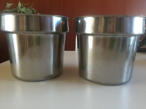 Large Stainless steel pots (plant pots) 9 inches high 9.5 inches