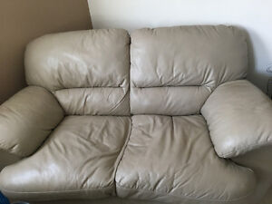 Real leather love seat & recliner