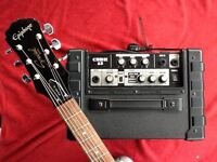 Epiphone special & Roland cube 15. Great sound.