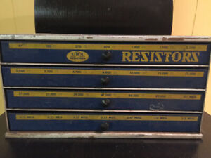 VINTAGE IRC RESISTORS CABINET, 4-DRAWERS, V. G. ENGINEERING CO.,