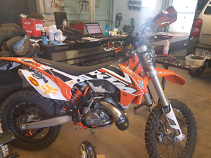 2015 ktm 200 xcw oem pipe and silencer with guard