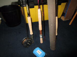 Fly Fishing Lot - 3 rods, 1 fly reel, 1 flybox with 10 flies