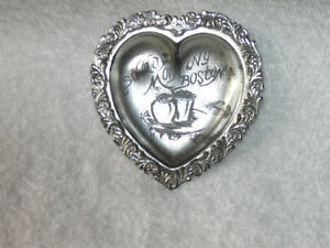 ORNATE VINTAGE HEART-SHAPED MINIATURE E G WEBSTER SILVER TRAY