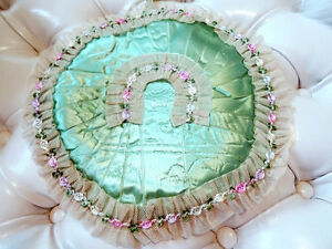 Victorian HANDKERCHIEF HANKIE HOLDER quilted satin netting lace