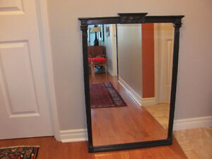 Vintage Hall Wall MIRROR BEVELED GLASS Large Painted Black