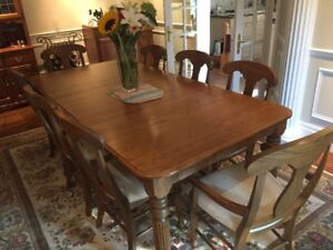 Oak Dining room table, eight chairs, hutch and dry sink