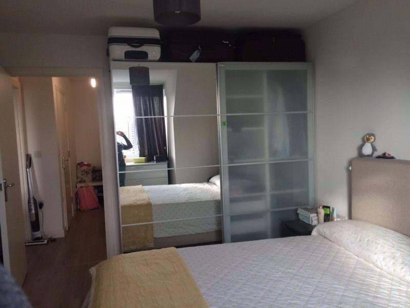 Ikea Pax Wardrobe Half Mirror Half Frosted Glass Sliding Doors