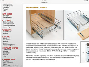 Lee Valley Pull out wire drawers for the kitchen