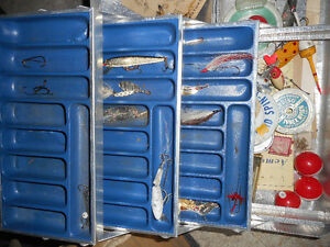 old fishing tackle boxes and bag and tackle