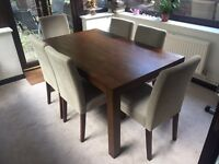 Solid wood dining table and 6x Next chairs