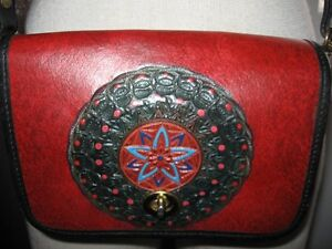 Vintage small cross body multicolour leather purse
