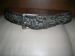 Abercrombie and Fitch Leather Belt and Buckle Moose USA Rare